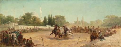 Adolf Schreyer (German, 1828-1899)  A Horse Race in the Hippodrome before the Mosque of Sultan Ahmet, Constantinople signed and dated 'Ad. Schreyer 58' (lower right)  oil on canvas  17½ x 44 in. (44.5 x 11.8 cm.)  Painted in 1858 I Christie's Sale 1717