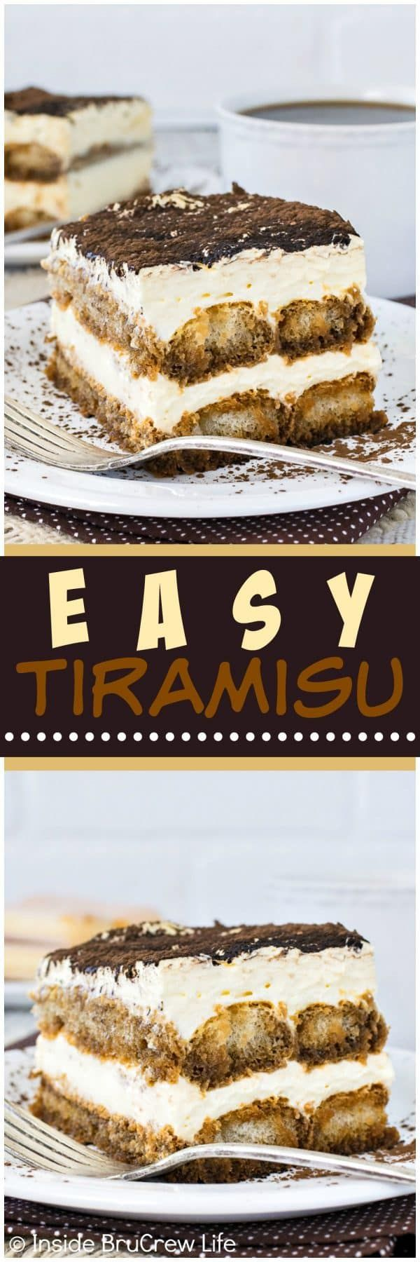 Easy Tiramisu - layers of creamy cheesecake and coffee soaked cookies will have this pan of no bake dessert disappear in a hurry. Great recipe for summer picnics or fancy dinner parties!