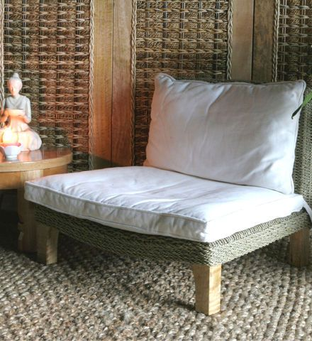Seagrass & Mango Wood Meditation Chair: Some legends declare Buddha found tranquility and repose in a mango grove. We believe you'll pursue a similar inner state of contemplation and calm with this #meditation chair. Get it at http://www.gaiam.com/wood-meditation-chair/05-0318_2.html?utm_source=pinterest&utm_medium=socialmedia&utm_campaign=ptgaiamcom&extcmp=sm_pt_tc.
