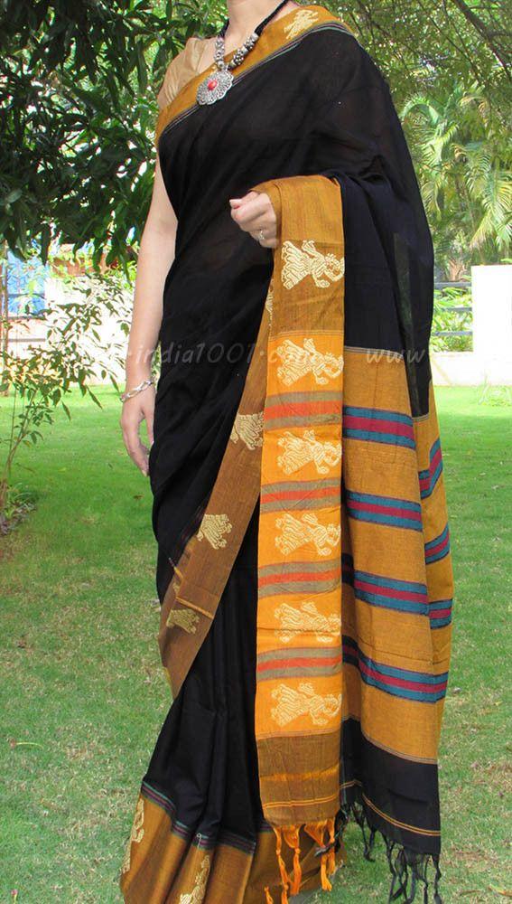 Elegant Woven Handloom Cotton Saree with Blouse | India1001.com
