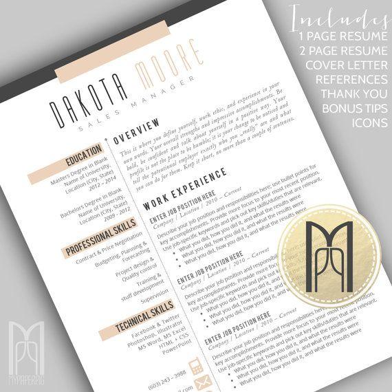 17 beste ideer om Professional Cover Letter Template på Pinterest - 1 page resume template
