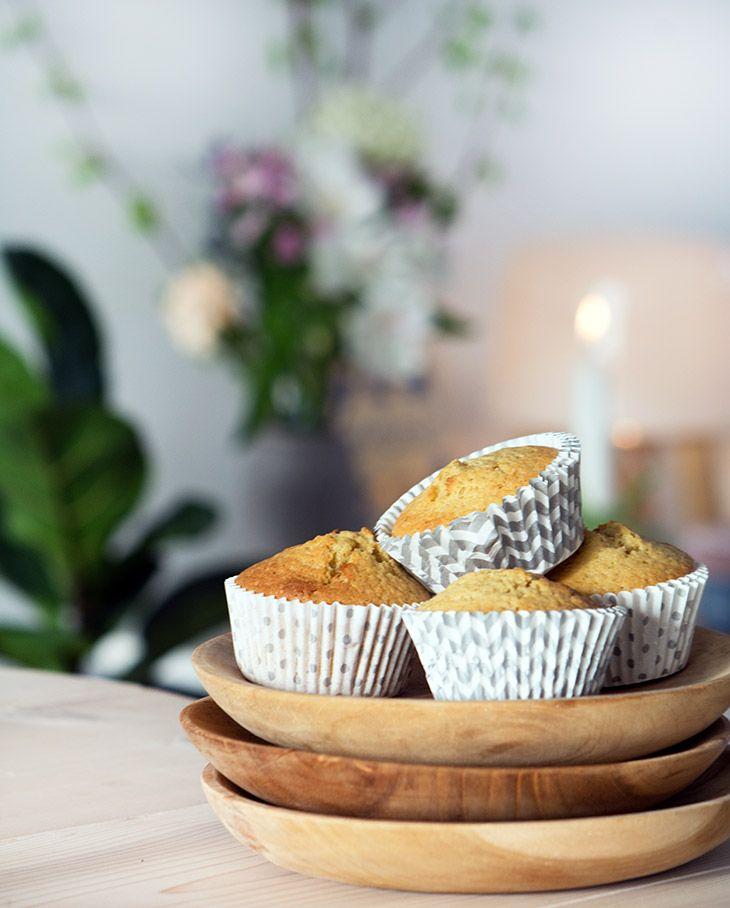 Lækre og nemme ingefærmuffins med en skøn frisk smag - hurtige at lave og kan være klar til servering på under 30 minutter - få opskrift her