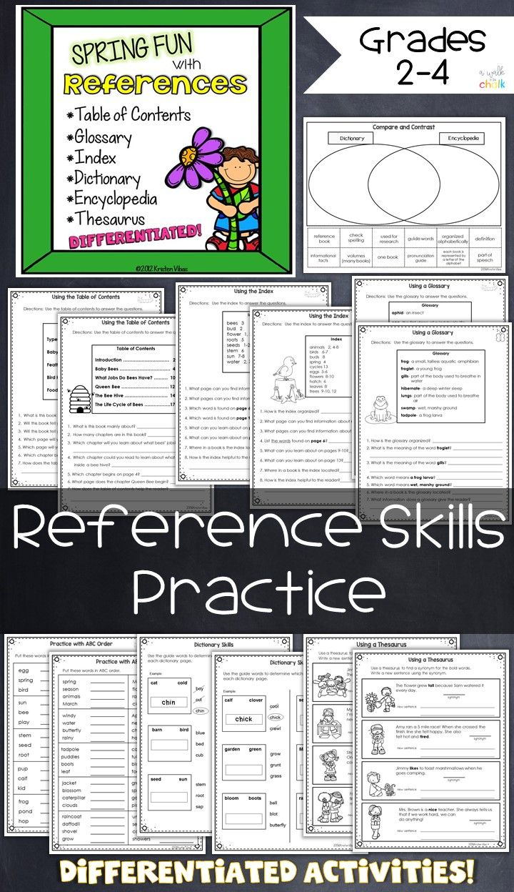 Word Reference Skills: students practice with table of contents [ 1248 x 720 Pixel ]