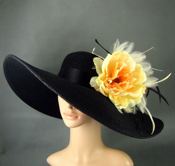 Kentucky Derby Hat Derby Hat Dress Hat Wide brim Hat Yellow-orange flower…