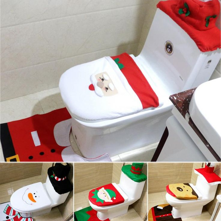1 Sets Christmas Decorations Xmas Toilet Seat Cover and Rug Washroom Set Snowman decorative toilet seat covers lids