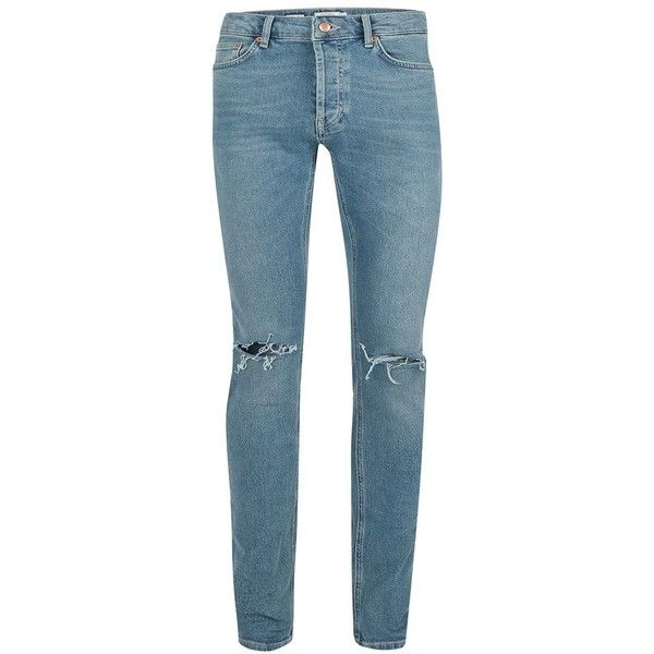 TOPMAN Blue Wash Vintage Ripped Stretch Skinny Jeans (2,260 DOP) ❤ liked on Polyvore featuring men's fashion, men's clothing, men's jeans, blue, mens distressed jeans, mens stretch jeans, mens button fly jeans, mens torn jeans and mens blue skinny jeans