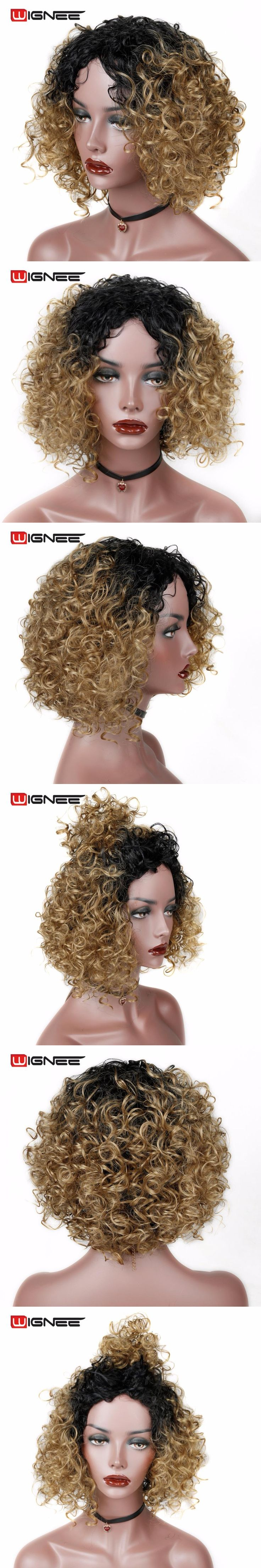 Wignee Short Afro Kinky Curly Halloween Wigs High Density Heat Resistant Synthetic Wigs Ombre Blonde Cosplay Hair Women Wigs
