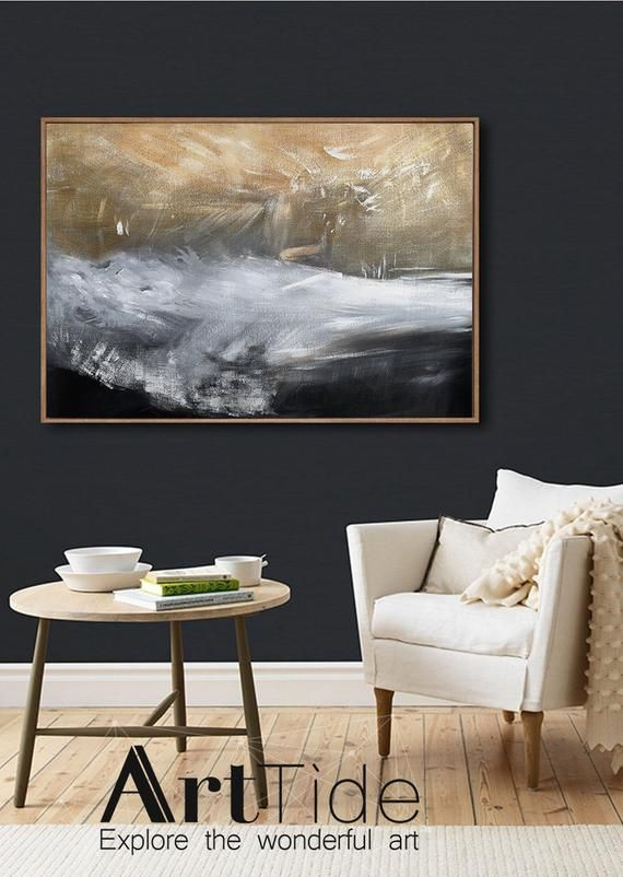 Gold Artblack White Paintinglarge Original Abstract Etsy Horizontal Wall Art Large Canvas Art White Painting