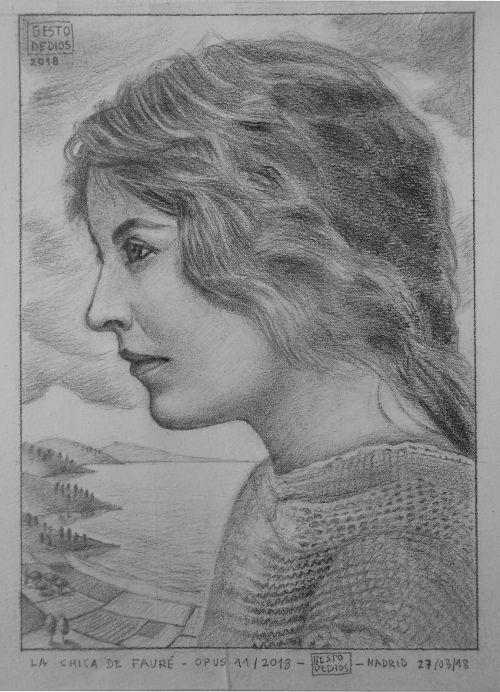 La chica de Fauré, 2018 (Opus 11/2018) - Lápiz y carboncillo sobre papel, 16,5 x 23,3 cm. #Gestodedios. The girl of Fauré - Graphite pencil and charcoal. La fille de Fauré, 2018 - Crayon graphite sur papier