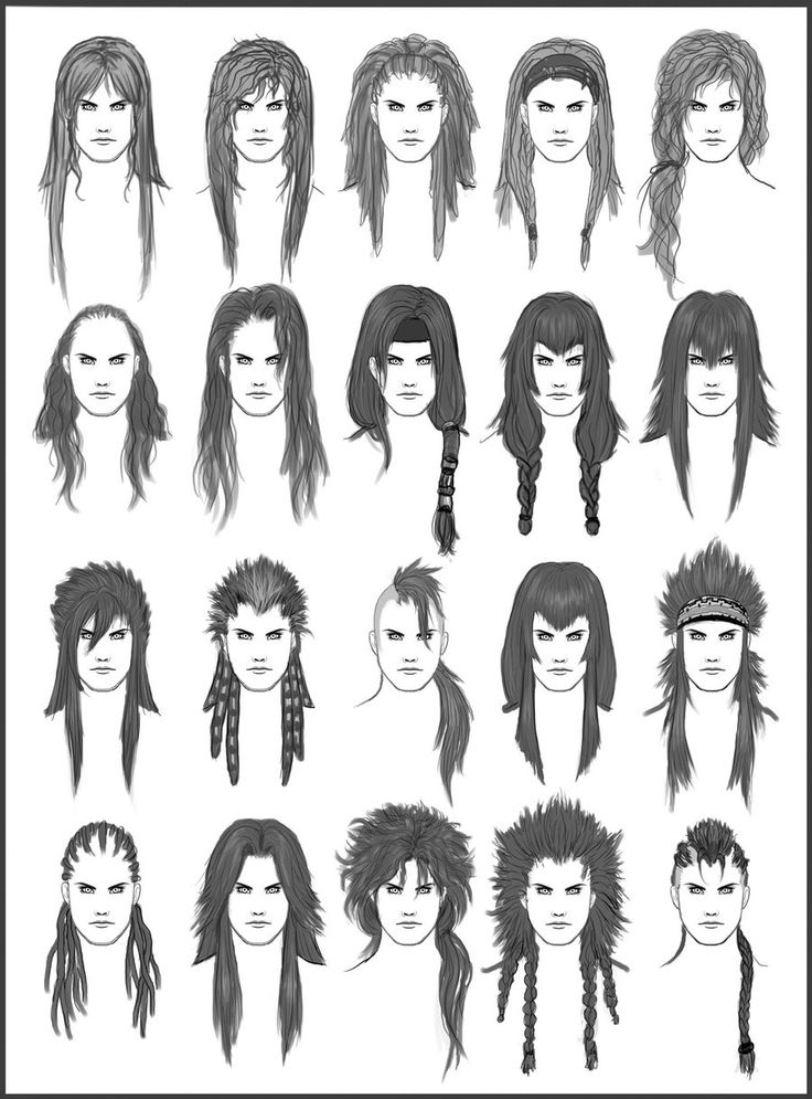 Men's Hair - Set 6  - Different Hairstyles for Boys - Character Design and Drawing Reference