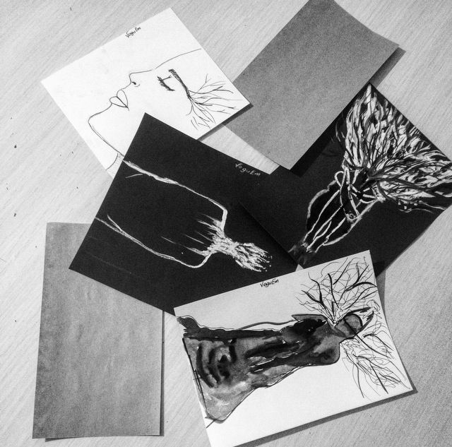 artwork art drawing sketch black white face dark artist