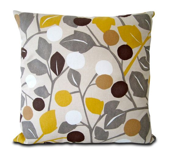 Mia & Stitch Floral Retro Yellow and Brown Cushion by miaandstitch