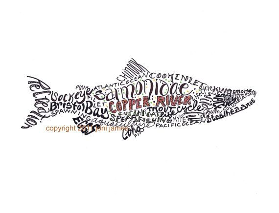 Alaska Salmon Art Print Fish Typography by CalligramORama on Etsy, $19.50