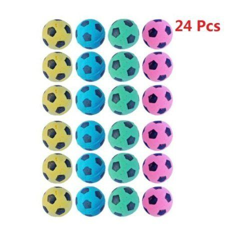 PETFAVORITES Foam/Sponge Soccer Ball Cat Toy Best Interactive Cat Toys Ever 2014 Most Popular Independent Pet Kitten Cat Exrecise Toy balls for Real Cats Kittens Soft/Bouncy/Noise Free 24 Pack.