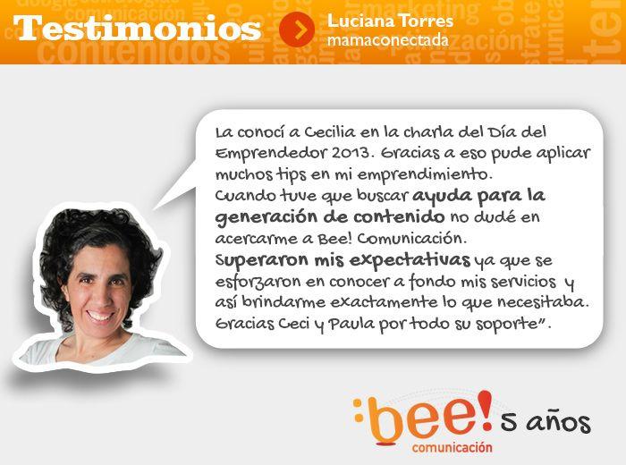 #Testimonios de nuestros clientes y su saludo por nuestro 5to. aniversario. Gracias por tus palabras Luciana Torres de Mamaconectada.com.ar