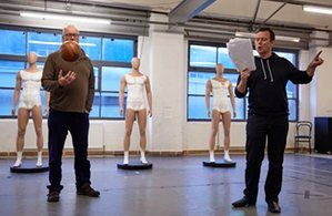 John Graham Davies, left, with Andrew Lancel in rehearsals for The Damned United.