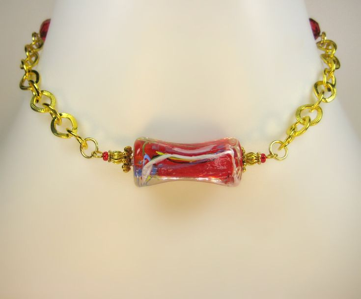 Front and Back Detailed Gold Chain Choker with Large Red Statement Bead and Crystal Detail