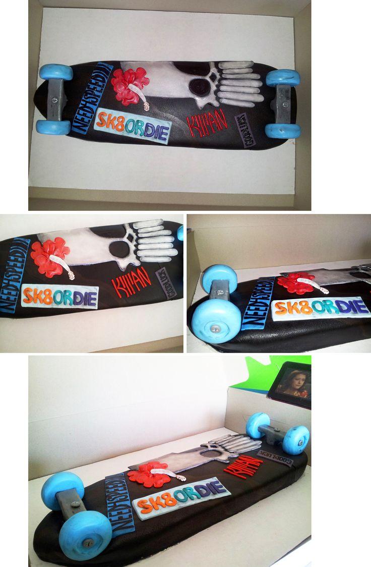 Longboard skateboard cake I got to make today! so fun! =)
