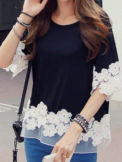 Black Patchwork Grenadine Appliques Flowers Elbow Sleeve T-Shirt