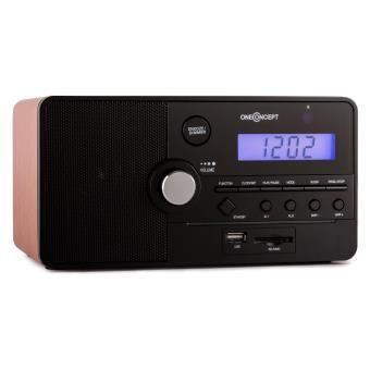 oneConcept Luzern Radio réveil avec ports USB/SD pour lecture MP3 & AUX - caisson bois