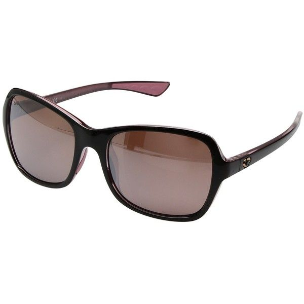 Costa Kare (Shiny Black Hibiscus Frame/Silver Mirror 580P) Sport... ($189) ❤ liked on Polyvore featuring accessories, eyewear, sunglasses, silver sunglasses, sports glasses, costa glasses, sport glasses and tinted sunglasses
