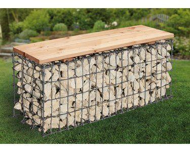 Format 100 cm x 46 cm x 30 cm • Sitzfläche aus naturbelassenem Holz ✓ Gabionen-Gartenbank 100 cm x 46 cm x 30 cm im OBI Online-Shop kaufen