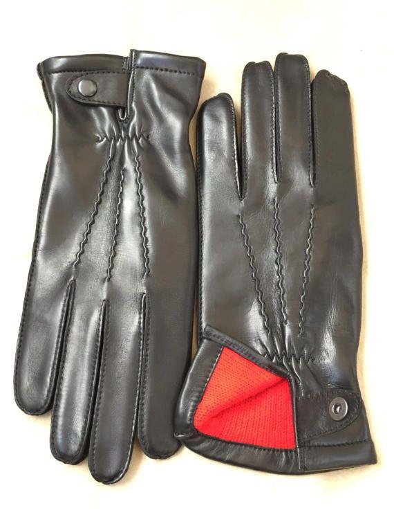 Men's leather gloves/ black leather gloves/ Italian leather gloves/ fancy gift/ gift for him/ boyfriend gift/ winter gloves/ glamour style