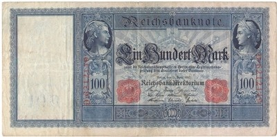 A German 1910 One Hundred Mark Reichsbanknote , Beautifully Engraved Banknote