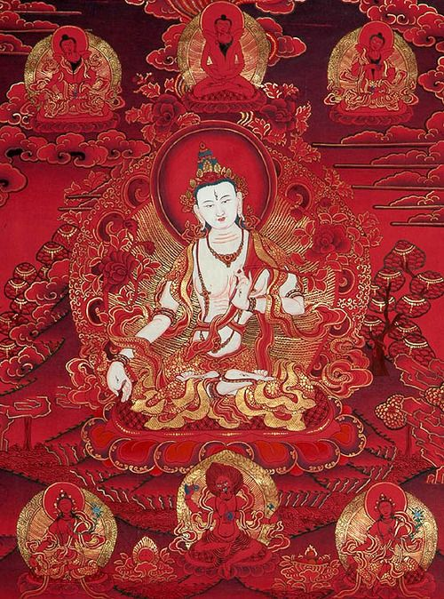 White Tara on red. Tara is a generic name for a set of Buddhas or Bodhisattvas of similar aspect. She is known as The Mother of Liberation and represents the virtues of success in work and achievements. The aspects of Tara being similar, they differ in color. The White Tara is associated with compassion, long life, healing and serenity.