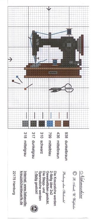 realist antique singer sewing machine cross stitch pattern and color chart Gallery.ru / Фото #1 - 21 - saltic
