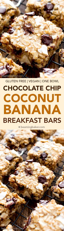 Coconut Chocolate Chip Banana Breakfast Bars ~ vegan, GF