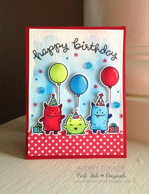 A Monster Birthday Card and Tag set by Audrey