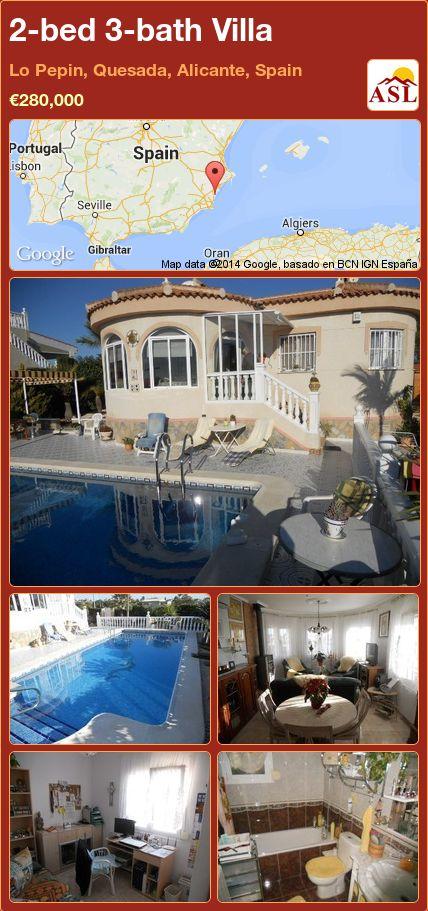 2-bed 3-bath Villa in Lo Pepin, Quesada, Alicante, Spain ►€280,000 #PropertyForSaleInSpain