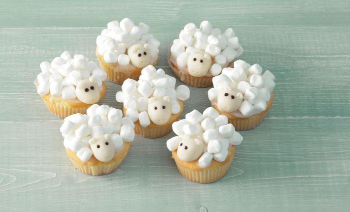 Kindertraktatie: schapen cupcakes