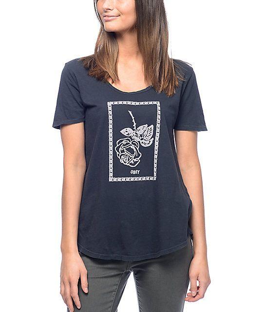 graphic tees for teens | Obey Nobody's Flower Madison camiseta en azul marino en Zumiez : PDP