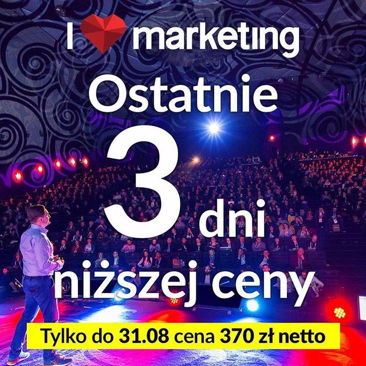 Tylko do środy możecie zakupić wejściówki w niższej cenie za 370 zł netto❕😀👌😱 ▶️http://bit.ly/love-marketing-2016 (klikalny link w bio) #konferencja #ilovemkt #sprawnymarketing #sprawny #lastdays #promocja #marketingtips #marketingdigital #socialmediamarketing