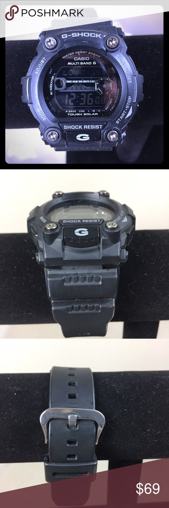 Mens G-Shock resist watch Casio 3200 GW-7900B This is an authentic mens casio G-shock. Serial number is in the title. It is shock resistant and has only been worn about 5 times and has no flaws. It is a sleek jet black color. Detailed pictures of the back and face have been provided to check for yourself if you'd like. It fits to all sizes with its adjustable band. It glows when the G button is pushed. At an original price of 104$ retail this is a great buy! Casio Accessories Watches