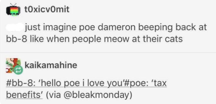 """Hello Poe.  I love you."" ""Tax benefits."""