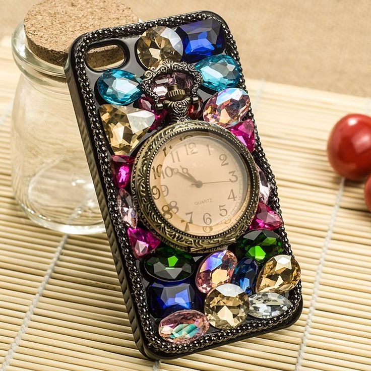 Sparkling 3D Retro clock Swarovski Crystal Hard Case Cover for iPhone 5 - Colorized