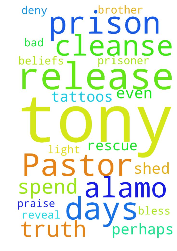 Dear Lord Jesus I pray for the release of Pastor Tony - Dear Lord Jesus I pray for the release of Pastor Tony Alamo from prison. I pray that you rescue him from being a prisoner and dont let him deny your truth I pray that you even reveal to him more truth as he spends his days there. I pray also for the release of my own brother from prison and that you cleanse him from his tattoos. I pray that you cleanse him from his bad beliefs and perhaps tony Alamo can shed some light on him while they…