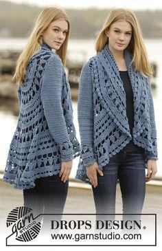 Sea Glass Jacket By DROPS Design - Free Crochet Pattern - (garnstudio)