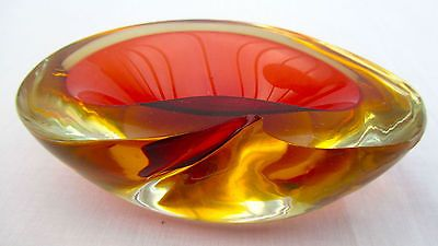 Vintage Murano Sommerso Space Age Geode Art Glass Ashtray Cranberry/Amber