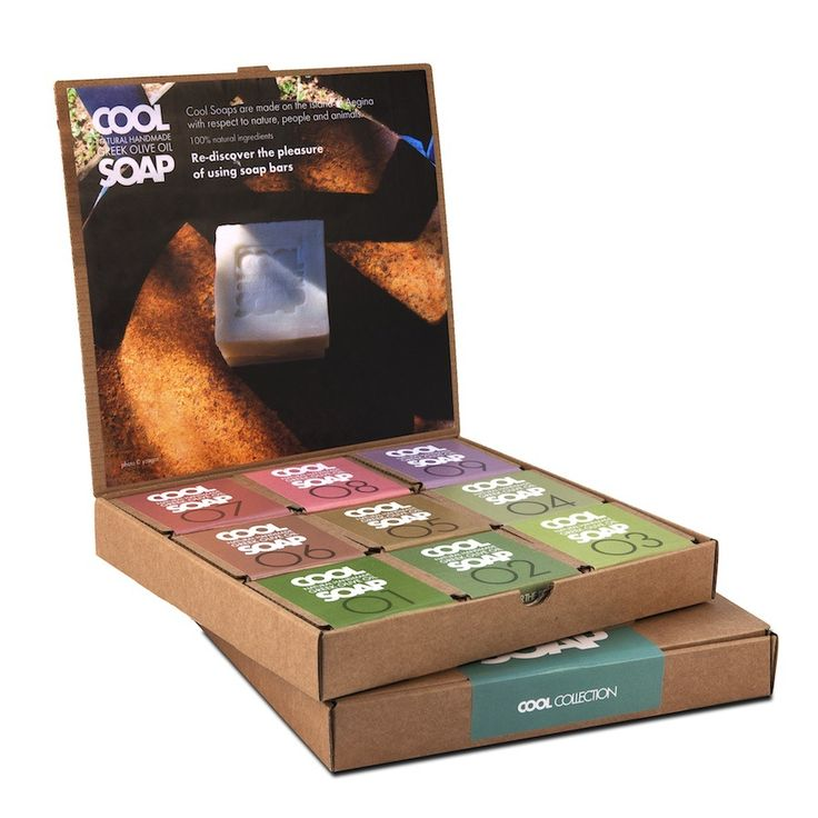 Cool Soaps come in a selection of 12 unscented and 12 scented soap bars, in boxes of 3 or 9. The choice is yours!