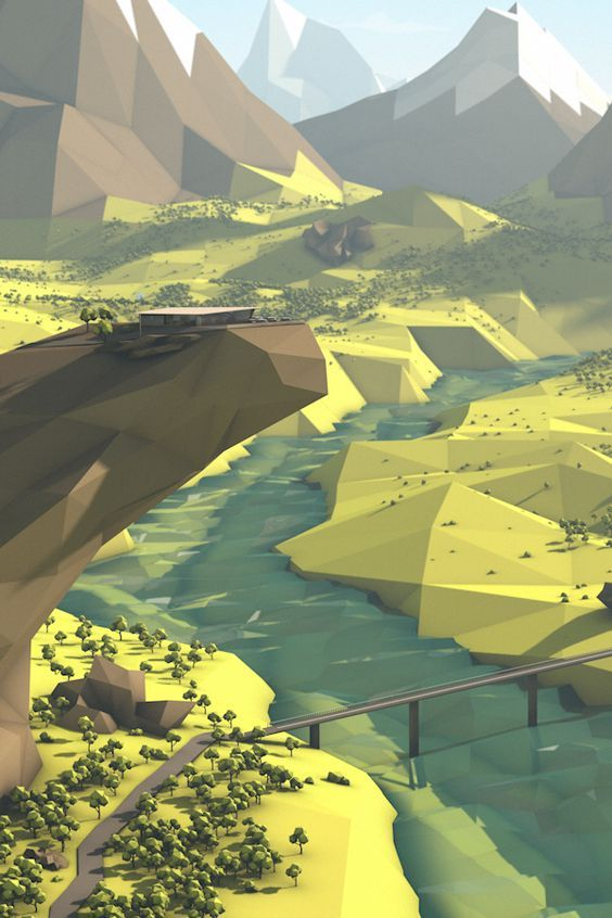 Low Poly Terrain Scene: