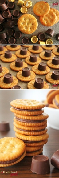 Why don't I ever think of these awesome ideas? Preheat 350. Rollo Stuffed Ritz Crackers-salty side down, place 1 Rolo / cracker. Bake 3-5 min to melt Rolo, then add another cracker on top and push down a little. Let cool. Sweet  Salty treat.