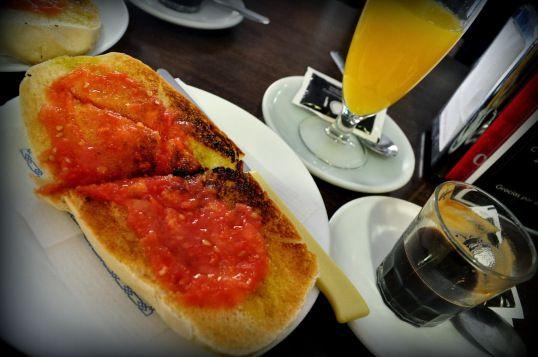 Spanish breakfast. Sevilla, Spain.