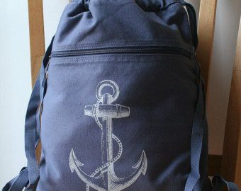 Anchor Backpack Gray Canvas Screen Printed by catbirdcreatures