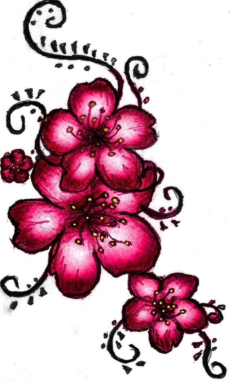 Beautiful Cherry Blosoom Flowers Tattoo Design
