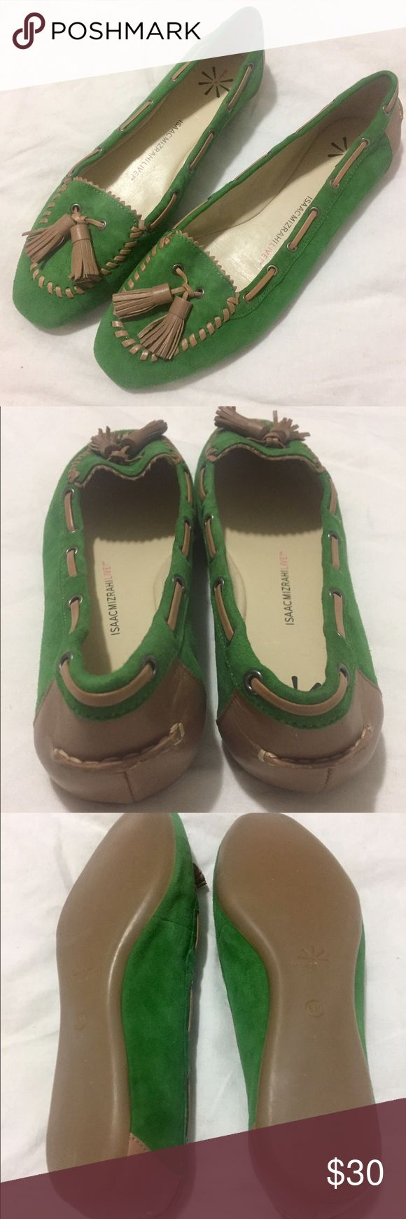 Isaac Mizrahi Live | Green Suede Loafers | Size: 8 Isaac Mizrahi Live | Green Suede Loafers | Size: 8W | Great Condition | NWOT | No Damage or Wear | True to Size | Pet/Smoke Free Home | Leather Insole, Rubber Bottom Isaac Mizrahi Shoes Flats & Loafers