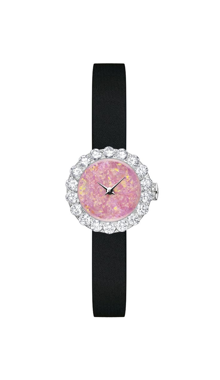 La D De Dior Precieuse 21mm watch in white gold, with an Australian opal dial and diamonds